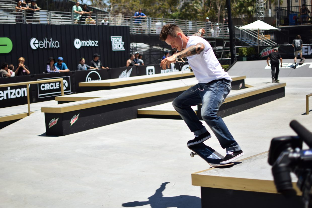 Cody Mcentire of Belton, Texas on the street course at summer Dew Tour in Long Beach, California this July.