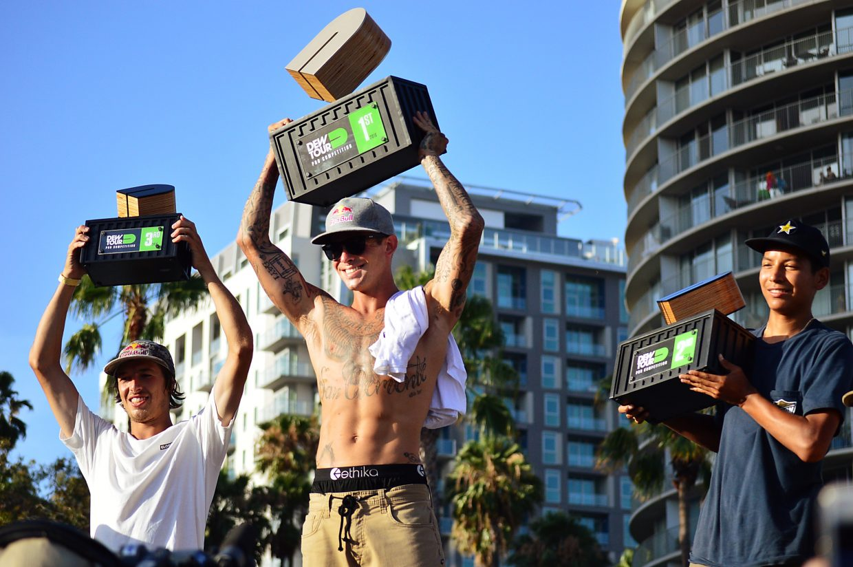 The summer Dew Tour 2016 street skateboarding podium (from left to right): Ryan Decenzo, Ryan Sheckler and Louie Lopez.