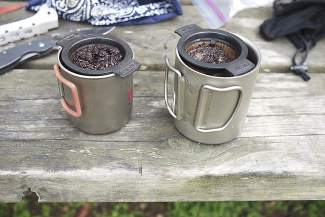The MSR MugMate French press doing what it does best: making coffee on the trail.