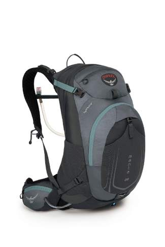 The Osprey Manta AG men's reservoir backpack in fossil gray ($155) comes in three sizes (28 liter shown).