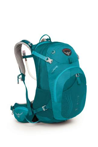 The Osprey Mira AG women's reservoir backpack in teal ($155) comes in three sizes (26 liter shown).