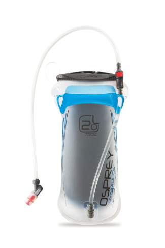 The 2.0-liter Hydrapak reservoir included with the Osprey Manta and Mira reservoir backpacks.