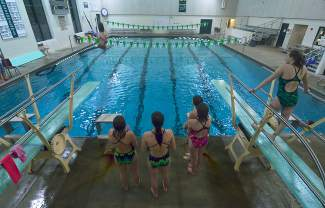 The Summit girl's diving team practice at the high school pool the week before the 4A Western Slope League Championship meet in Grand Junction. The team of eight is small in the statewide 4A division, but it's still one of the largest in the Western Slope league.