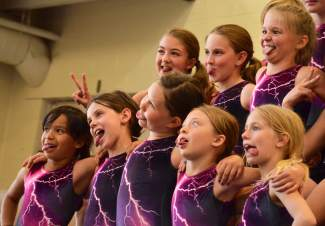 The Silverthorne Storm team gets goofy during photo day in early June. The three team programs draw more than 60 gymnasts during the summer, while the youth classes can fit up to 200 for introductory, intermediate and advanced tumbling classes at the Silverthorne rec center.