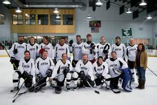 The Vail-Summit Orthopaedics team at the Summit Hockey Classic. The team fell to Peak One Surgery Center in the finals, 7-2, on April 2 in Breckenridge.