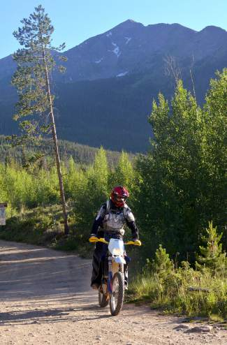 TIm Nixon, president of Summit County Off-Road Riders, on a ride through moto-friendly trails in the Frisco area.