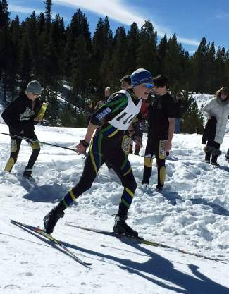 Tigers senior captain Rylan Miller powers through a section of course at a high school Nordic race earlier this season. Miller has enjoyed acting as mentor for a young Summit team this winter.