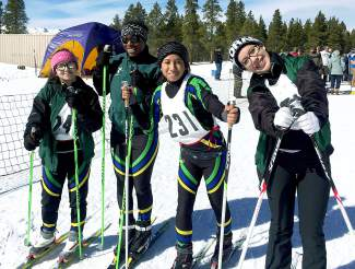 A few of the youngest members of the Tigers Nordic ski team at the final regular season race of the season in Leadville on Feb. 13 (left to right): Mariana Arrieta, Ella Reed, Isabel Serrano, Karina Gonzalez.