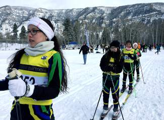 Tigers Nordic skiers prep for the starting gun at a high school race in Minturn on Jan. 16 (left to right): Karina Gonzalez, Mariana Arrieta, Isabel Serrano.