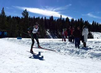 Tigers Nordic skier Kyle Tayman on the course at a race earlier this season. Tayman is part of a strong high school Nordic squad that includes three senior captains with experience at the state championships.