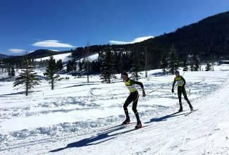 Tigers ski team captains Logan Ramsay (front) and Rylan Miller (back) lead the pack during a race earlier in the high school season. The two are veteran seniors with four years of experience each at the state championships.