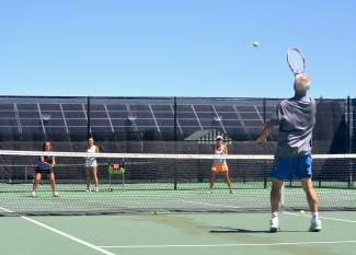 Doubles teams volley back and forth at a drop-in clinic hosted by the Breckenridge rec center in July. The rec center is home to eight outdoor courts and two indoor courts.
