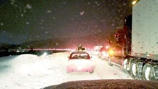 Traffic on eastbound  Instertate 70 around 6 p.m. on Sunday, Feb. 9 was backed up thoughout the mountain region due to multiple road closures and adverse weather. Delays from Silverthorne to the Eisenhower/Johnson Memorial Tunnel approached four-plus hours.