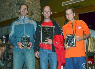 2015 Summit Trail Running Series male long course winners (from left): Michael Shambarger, Mark Martin-Williams and Max Bonenberger.