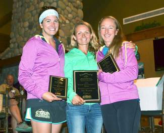 2015 Summit Trail Running Series female long course winners (from left): Lea Chandonnet, Ksusha Shambarger and Colleen True.
