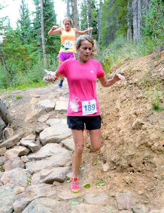 A mother-daughter duo, Emily and Ruthie Boyd, tackle the final rocky section of Toms Baby trail in Breckenridge during the last race of the Summit Trail Running Series on Aug. 26. Ruthie Boyd went on to take first at the inaugural race of the 2015 high school cross-country season in Basalt on Aug. 29.