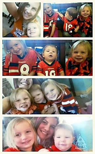 Jenni Hargan, her mom and brother recreated their old Broncos photo two weeks ago. Hargan added her family has a tradition of buying M&Ms in each team color, and eating the corresponding colors when each team scores.
