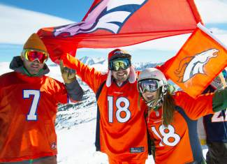 Broncos fans show their colors at Loveland Ski Area.