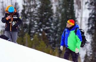 Team Summit alpine director Greg Needell (right) on the course at an event during the 2015-16 ski season, his first as director for the club. Needell died of an apparent heart attack at Mammoth Mountain on June 7.