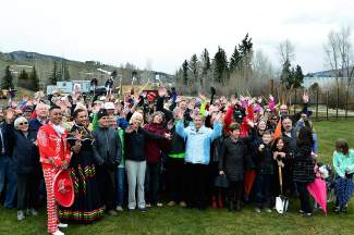 Everyone in attendence Saturday, April 23 for the ceremonial groundbreaking celebration posed for a photo.