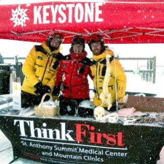 ThinkFirst team members hit hte slopes during a previous National Ski Safety Week to help promote safe skiing and riding. Next week, from Jan. 18 to 20, ThinkFirst will visit four resorts to help educate people about helmet use and preventing trauma injuries.