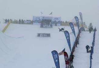 Wind and snow slowed competition at the U.S. Grand Prix at Breckenridge in January — the third of five Olympic team selection events . Weather plagued the competition all weekend after it was moved from California because of a lack of snow.