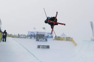 U.S. freeskier Simon Dumont airs out of pipe at Breckenridge during the U.S. Grand Prix Olympic selection event in January. Weather plagued the competition all weekend after it was moved from California because of a lack of snow.