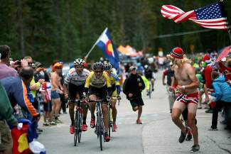 Tejay van Garderen of Aspen leads Serghei Tvetcov, Rafal Majka up the Boreas Pass during stage five of the 2014 USA Pro Challenge from Woodland Park to Breckenridge on August 22, 2014. Van Garderen went on to win his second consecutive Pro Challenge.
