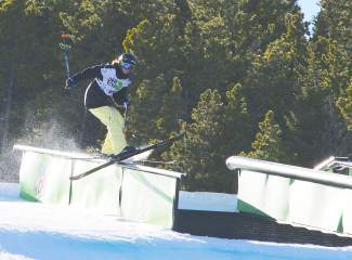 Breckenridge's Keri Herman slides off a rail on her way to winning women's slopestlye at 2014 Dew Tour at Breckenridge.