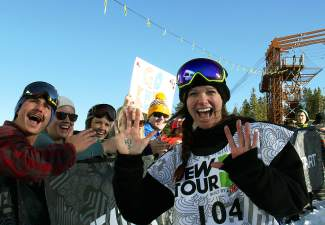 Breckenridge's Keri Herman celebrates with a rowdy home crowd of family and friends after her women's slopestyle win at the 2014 Dew Tour in December.