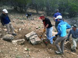Volunteers with the statewide nonprofit Volunteers for Outdoor Colorado (VOC) work on a recent trail project near Telluride. The group will be working on an approximately 4,000 foot extension of Turk's Trail this weekend in Breckenridge.