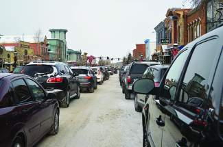 Vehicles pack into downtown Breckenridge during the winter season. The town is working with consultants to create a comprehensive parking and transit plan, including pedestrian access, parking managment and construction of a parking structure.