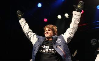 Nick Goepper celebrates after being announced to the U.S. Olympic freeskiing team following the U.S. Grand Prix on  Jan. 18  in Park City, Utah.