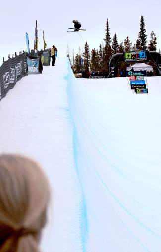Hunter Hess of Bend, Oregon throws a massive 900 on his first hit of the men's open halfpipe finals at the 2016 USASA National Championships for skiing in Copper on April 12. Hess ended the day in third behind Finn Bilous of New Zealand and Sammy Schuiling of Steamboat Springs.