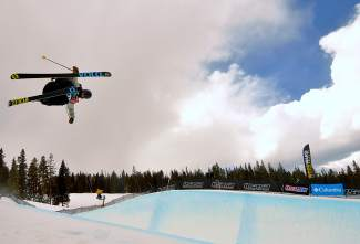 Hunter Hess of Bend, Oregon makes his first hit during the men's open halfpipe finals at the USASA National Championships for skiing in Copper on April 12. Hess took third in halfpipe.