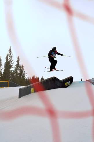 Mark Colafranceschi of Park City, Utah airs to down over the kink during the boy's youth slopestyle finals at the 2016 USASA National Championships in Copper on April 12.