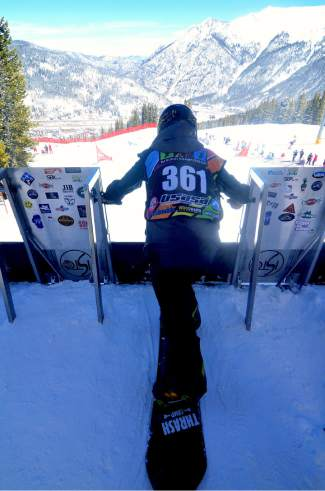 A competitor gets ready for the starting gun on the line at the USASA National Championship boardercross course before a qualifier on April 6.