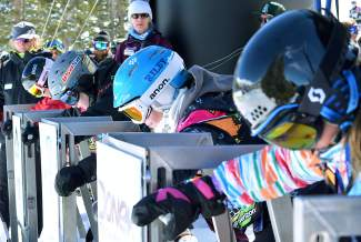 Boardercross racers in the Breaker division (12-13 years old) wait for the start of a qualifer at the USASA National Championship in Copper on April 6.