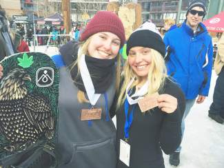 Team Summit's Rachel Defelice (left) and Kayleigh Carew display their medals after taking top-10 finishes at the USASA National Championships at Copper Mountain this past week. Defelice took third in halfpipe and fourth in the rail jam for the women's Jams division.
