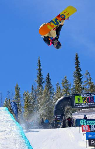 Robert Pettit of Basalt gets inverted above the halfpipe during the men's open division qualifier at the USASA National Championships in Copper on April 7.