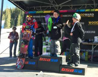 Team Summit Ruggie division rider Jacob Knight (left) after taking second place in boardercross at the USASA National Championships at Copper Mountain. Knight finished the season at first-place overall in the division to win the 2016 Ruggie national title.