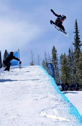 Chase Blackwell of Longmont high above the halfpipe during the men's open division qualifier at the USASA National Championships in Copper on April 7. Blackwell finished the day with a third-place finish.