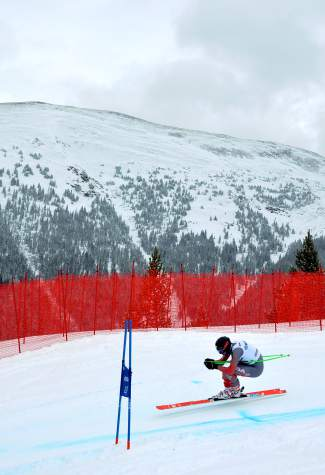 A U.S. Ski Team member takes a turn on the downhill course at Copper Mountain during early-season training on Nov. 19.