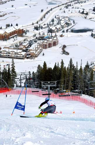 An unidentified national team racer comes cruising onto the final pitch of the early-season downhill course at Copper Mountain on Nov. 19. Copper welcomes youth giant slalom racers for the Nor Am Cup Nov. 30 to Dec. 4.