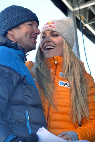 U.S. Olympian Lindsey Vonn smiles with big-mountain legend Chris Davenport after the U.S. Ski Team naming ceremony in Copper on Nov. 21.