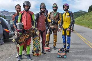 The crew: Longboarders from across the state and world came to Vail Pass for a morning of downhill bombing, decked in motorcylce leathers and full-face helmets.