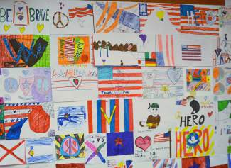 The elementary school was papered with artwork, drawn by Frisco students to honor veterans.