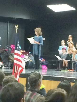 Breckenridge Elementary student Brina Babich recited the Star Spangled Banner in front of the entire assembly.