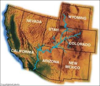 This map shows the Colorado River Basin's reach across the West.The Colorado River is divided up among seven states, and more specifically, between the Upper Basin (Colorado, New Mexico, Utah and Wyoming) and the Lower Basin (Nevada, Arizona and California).