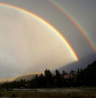 A double rainbow is seen over Summit on Monday. Although the county has seen a healthy summer monsoon season, it is still facing a long-term drought.